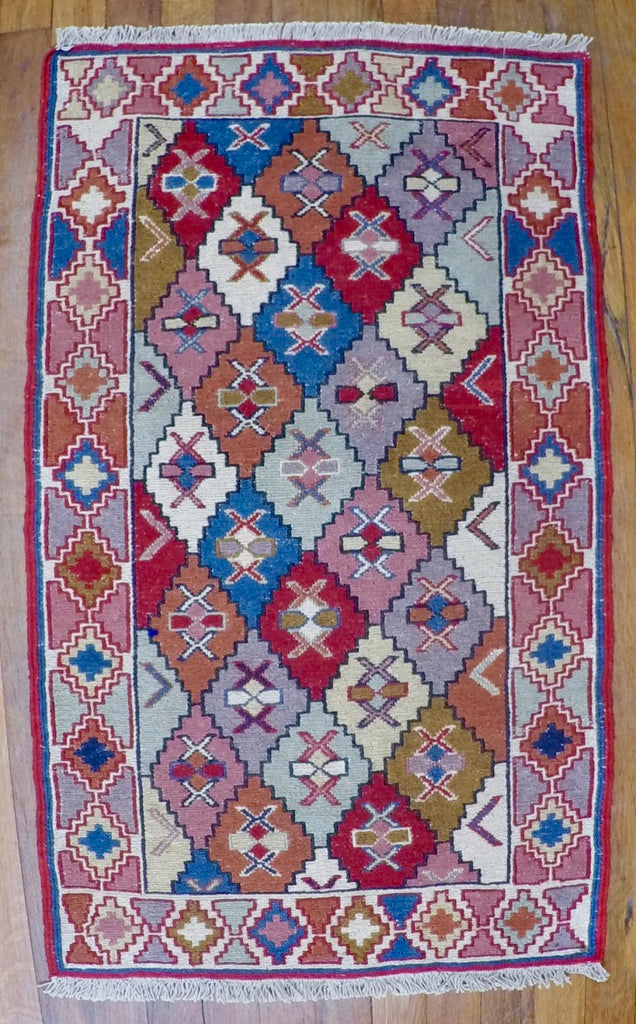 "New Wool on Cotton Rahra Soumak 1'10"" X 3'3"""