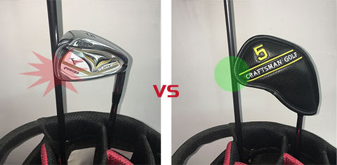 Irons damage the graphite shafts in golf bag VS Iron cover protect golf shaft
