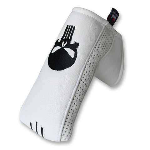 Skull Leather Putter Head Cover With Marker Platform