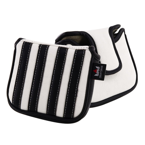 Black & White Stripe Leather Square Putter Head Cover