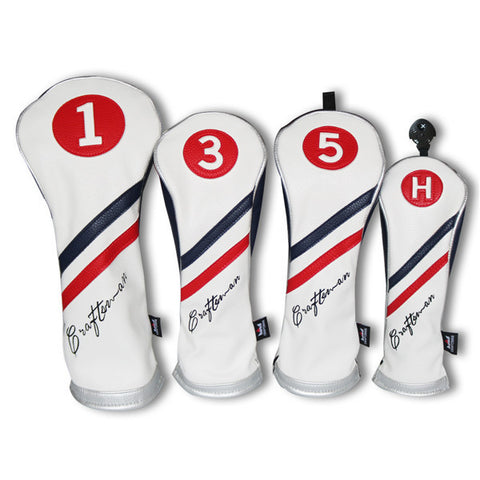 The 3-piece of White Blue Red Wood Head Cover