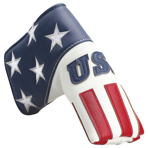 Blue White Leather With Red Stripes Blade Putter Headcover