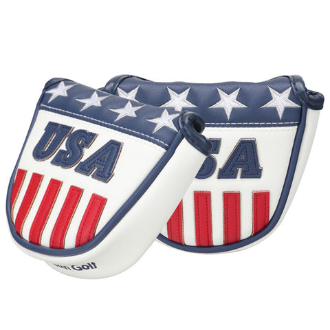 Blue White Leather With Red Stripes Mallet Putter Headcover
