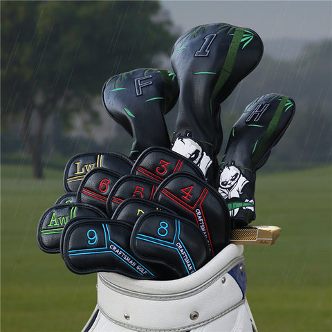 Colorful Number Black Leather Golf Iron Head Cover Set