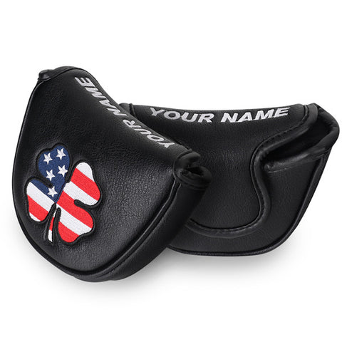 Custom Your Name Country Flag Lucky Clover Mallet Putter Headcover