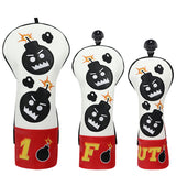 Red White Leather Angry Bombs Fairway Wood Head Covers