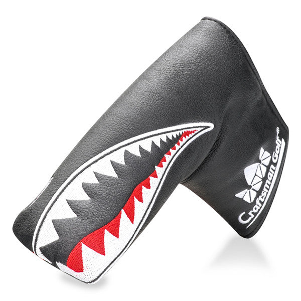 Shark Embroidery Black Leather Blade Putter Headcover