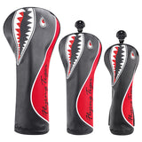 Shark Embroidery Black Leather Golf Head Covers