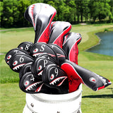 Shark Embroidered Black Leather Golf Head Covers