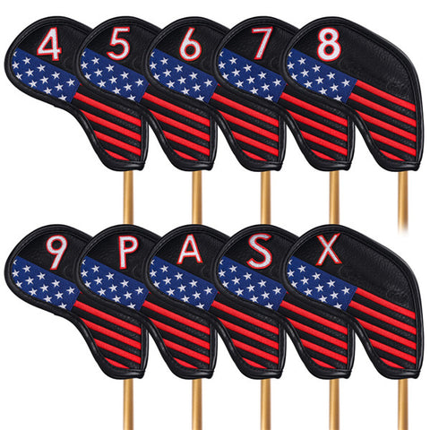 Stars and Stripes Protective Iron Headcovers Set (4-9,P,A,S,X) - CraftsmanGolf