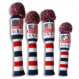 USA Flag Knitted Pom Pom Golf Head Cover