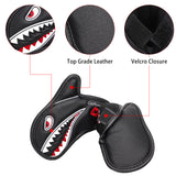 Vivid Shark Embroidery With 3D Fin Visible Red Numbers Iron Cover Set