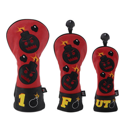 Red Black Leather Angry Bombs Golf Head Covers - CraftsmanGolf