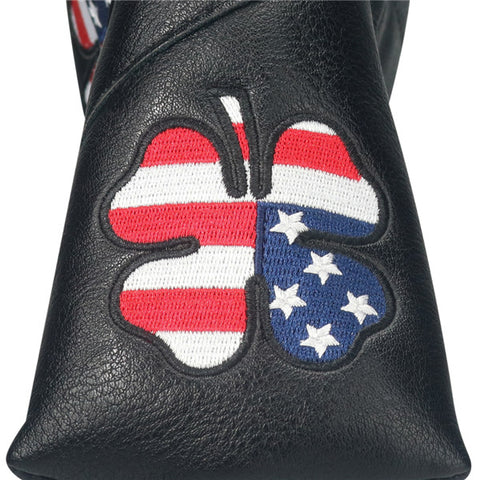 Black Leather Lucky Clover Blade Putter Cover - CraftsmanGolf
