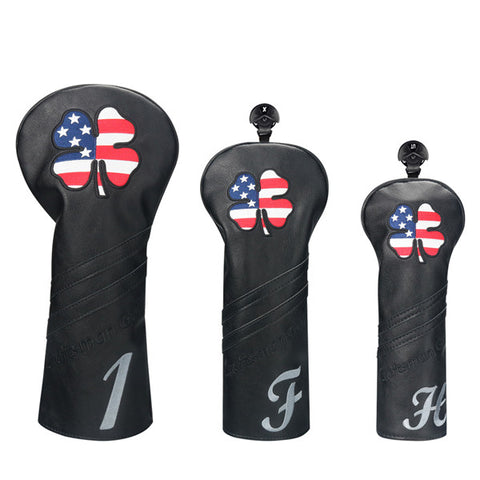 Black Leather Lucky Clover Golf Headcovers - CraftsmanGolf