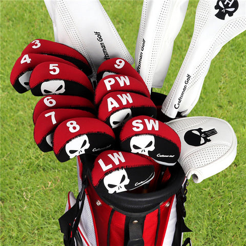 Black&Red Skull Neoprene Iron Head Cover Set - CraftsmanGolf