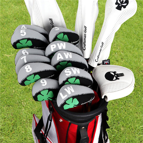 Black&Grey Clover Neoprene Iron Head Cover Set - CraftsmanGolf