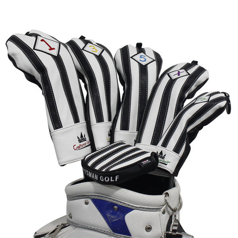White & Black Stripe Leather Large Mallet Putter Head Cover - CraftsmanGolf