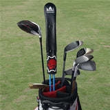 Black leather Skull Alignment Stick Covers with Snap Button - CraftsmanGolf