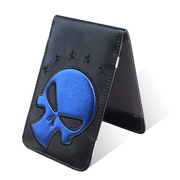Blue Skull Black Leather Scorecard and Yardage Book Holder - CraftsmanGolf