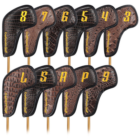 Magnetic Brown Crocodile Pattern Leather Iron Head Cover Set - CraftsmanGolf