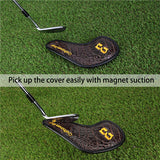 Magnetic Brown Crocodile Pattern Leather Iron Head Cover Set