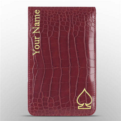 Personalized Crocodile Pattern Leather Scorecard & Yardage Book Holder