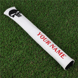 Custom Skull White Leather Alignment Stick Cover - CraftsmanGolf