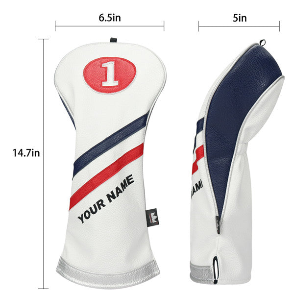 Custom White Blue Red Wood headcovers With Your Name - CraftsmanGolf
