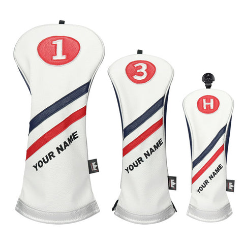 Custom White Blue Red Wood headcovers With Your Name