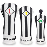 Custom Your Name Black & White Stripe Leather Golf Head Covers