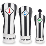 Custom Your Name Black & White Stripe Leather Golf Head Covers - CraftsmanGolf