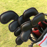 Embossed Number Black Leather Iron Cover Set - CraftsmanGolf