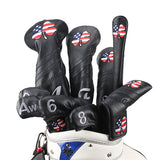Handmade USA Flag Clover Leather Golf Headcovers Set - CraftsmanGolf
