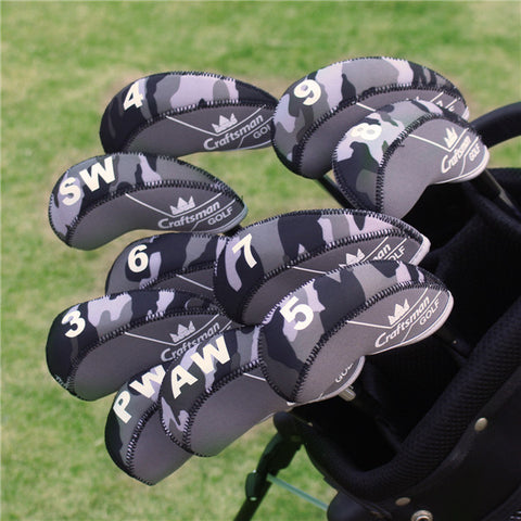 Black&Grey Camouflage Neoprene Iron Head Cover Set - CraftsmanGolf
