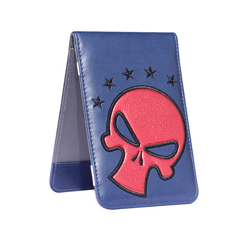 Red Skull Blue Leather Scorecard and Yardage Book Holder - CraftsmanGolf