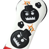 Red White Leather Angry Bombs Golf Head Covers - CraftsmanGolf
