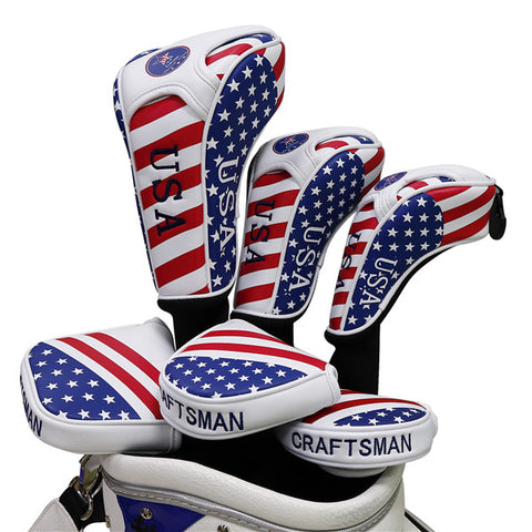 USA Flag Long Neck Sock Golf Head Cover - CraftsmanGolf