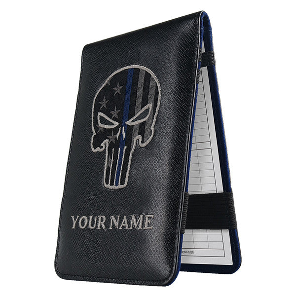Custom With Your Name Skull Scorecard&Yardage Book Holder - CraftsmanGolf