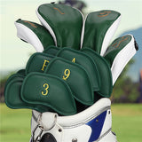 Green Leather Gold Embroidery Iron Headcovers Set (3-9,Pw,Aw,Sw,Lw,Lw)