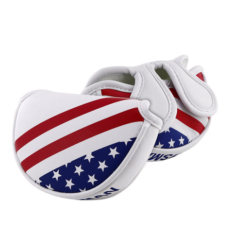 USA Flag Stars & Stripes Mid-Mallet Putter Cover(Dual Magnetic straps)