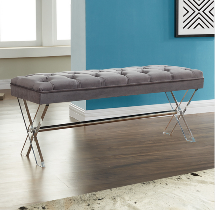Grey Tufted Velvet Bench with X-Cross Clear Acrylic legs