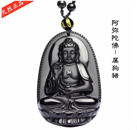 High quality natural black obsidian carved buddha lucky amulet high quality natural black obsidian carved buddha lucky amulet pendant necklace for women men pendants jadee mozeypictures Choice Image