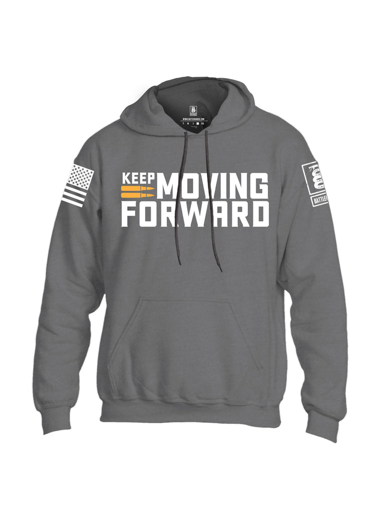 Battleraddle Keep Moving Forward White Sleeves Uni Cotton Blended Hoodie With Pockets