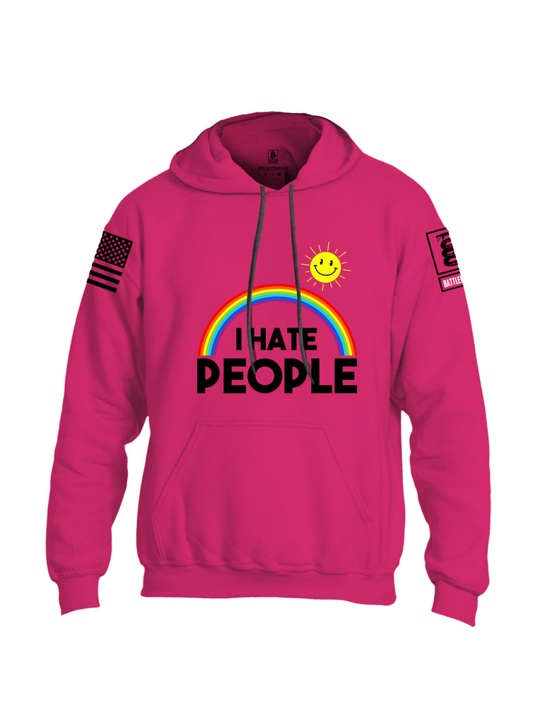 Battleraddle I Hate People {sleeve_color} Sleeves Uni Cotton Blended Hoodie With Pockets
