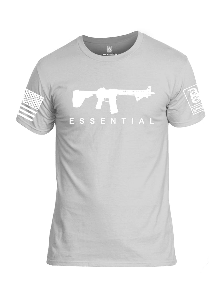 Battleraddle Ar15 Essential White {sleeve_color} Sleeves Men Cotton Crew Neck T-Shirt