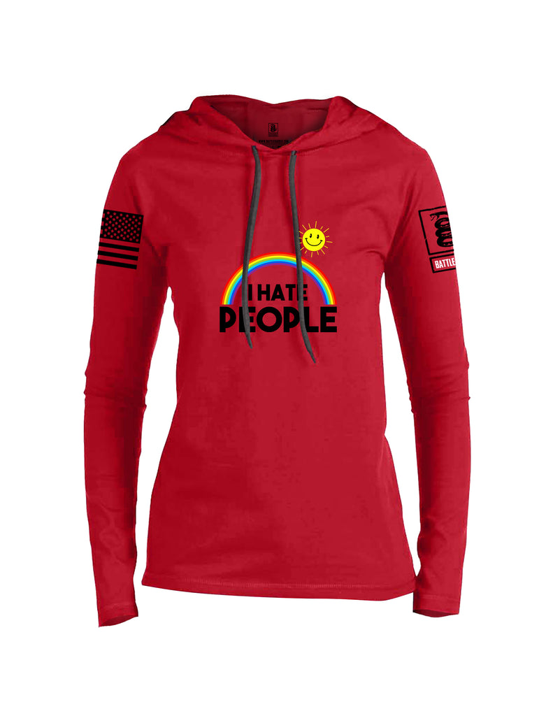 Battleraddle I Hate People {sleeve_color} Sleeves Women Cotton Thin Cotton Lightweight Hoodie