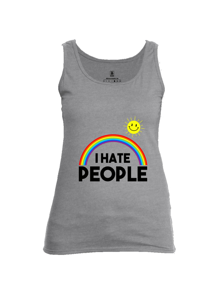 Battleraddle I Hate People {sleeve_color} Sleeves Women Cotton Cotton Tank Top