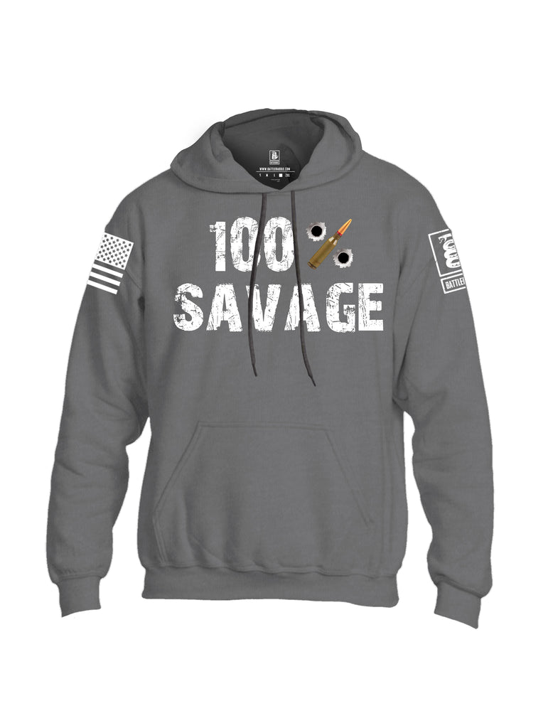 Battleraddle 100% Savage White Sleeve Print Mens Blended Hoodie With Pockets - Battleraddle® LLC