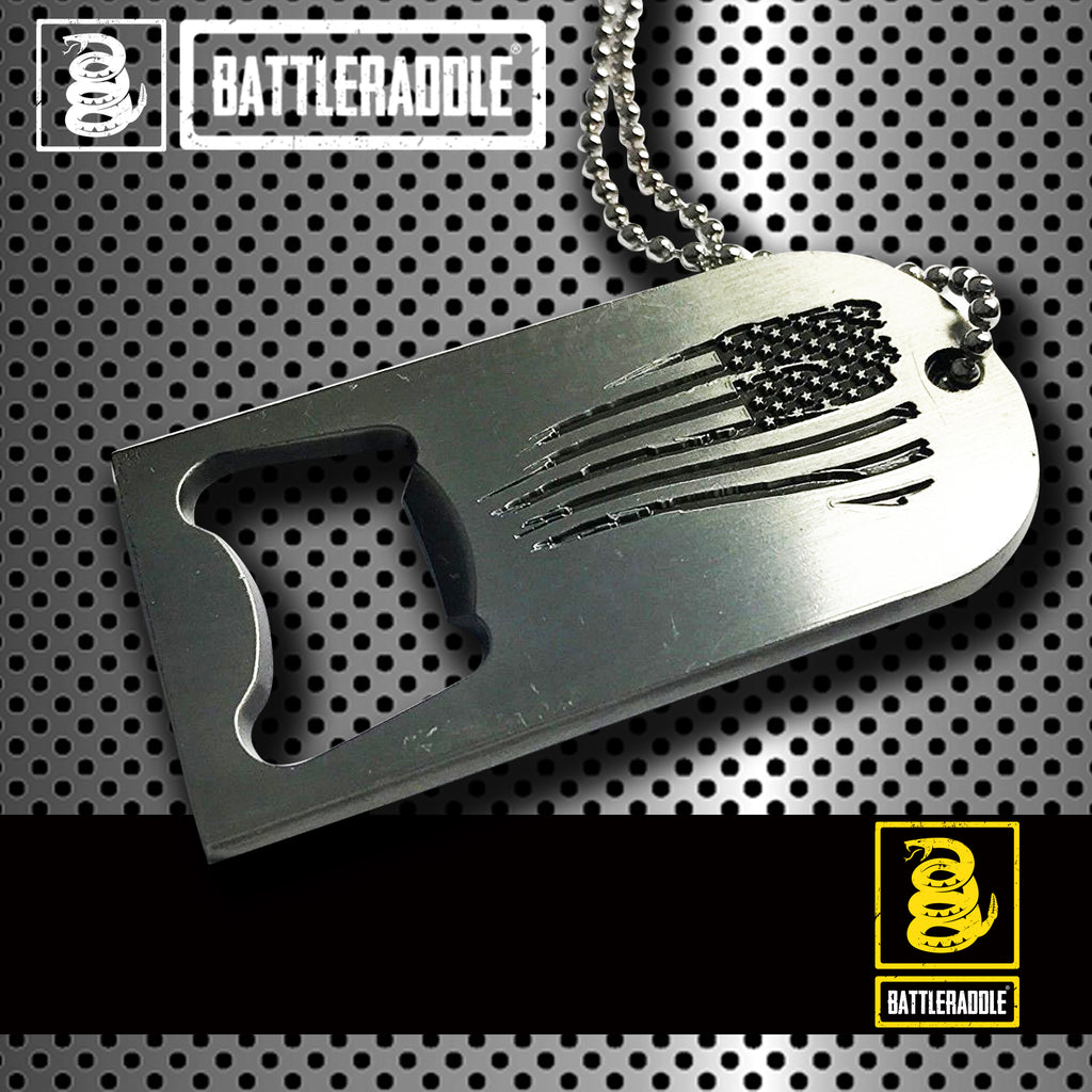 Battleraddle Military Combat American Flag Dog Tag Necklace Badass Bottle Opener Pendant